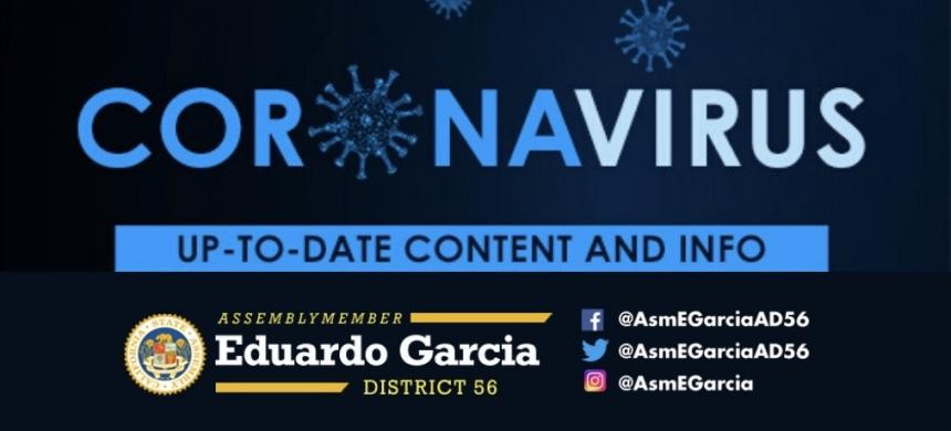 COVID19 Graphic Banner with Assemblymember Eduardo Garcia logo