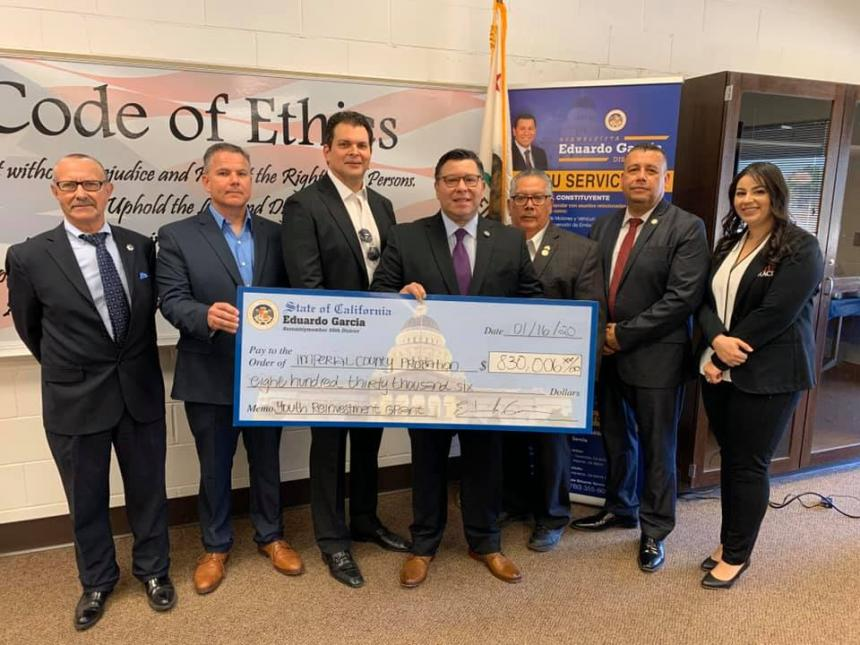 Assemblymember Eduardo Garcia presents CA Youth Reinvestment Grant to the Imperial County Probation Department, and Rite Track Youth Services