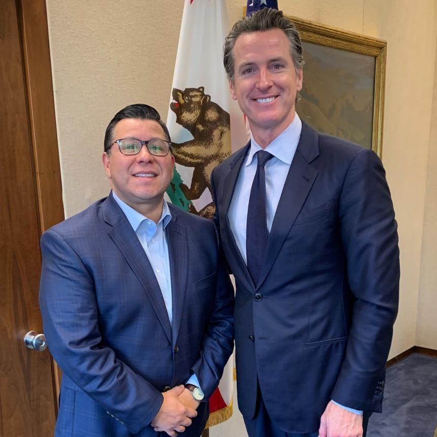 Assemblymember Eduardo Garcia and California Governor Gavin Newsom