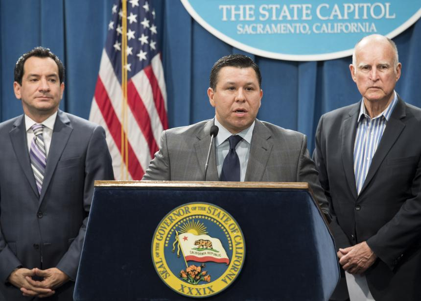 Assemblymember Eduardo Garcia, Speaker Rendon and Governor Jerry Brown