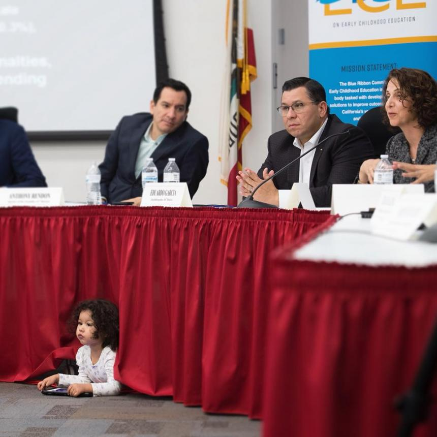 Assemblymember Eduardo Garcia, Speaker Anthony Rendon at Early Childhood Education Hearing at College of the Desert with special guest Assemblymember Eduardo Garcia's Daughter Ella May Garcia.
