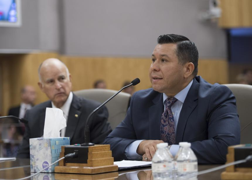 Assemblymember Eduardo Garcia and Governor Brown at Senate Environmental Quality Committee Hearing on AB 398 and AB 617