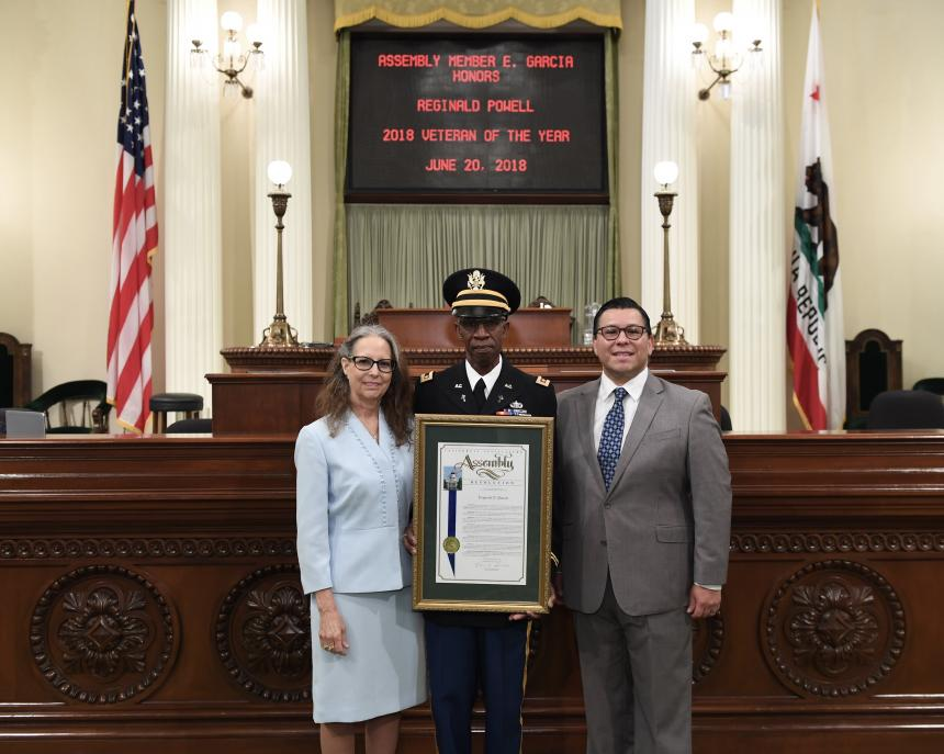 Assemblymember Eduardo Garcia Honoring Reginald Powell as Veteran of the Year 2018