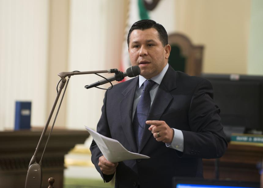 Photo of Assemblymember Eduardo Garcia presenting on the Assembly floor