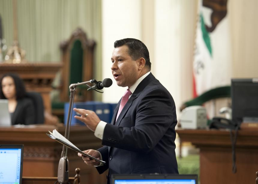 Assemblymember Eduardo Garcia presenting on the Assembly floor