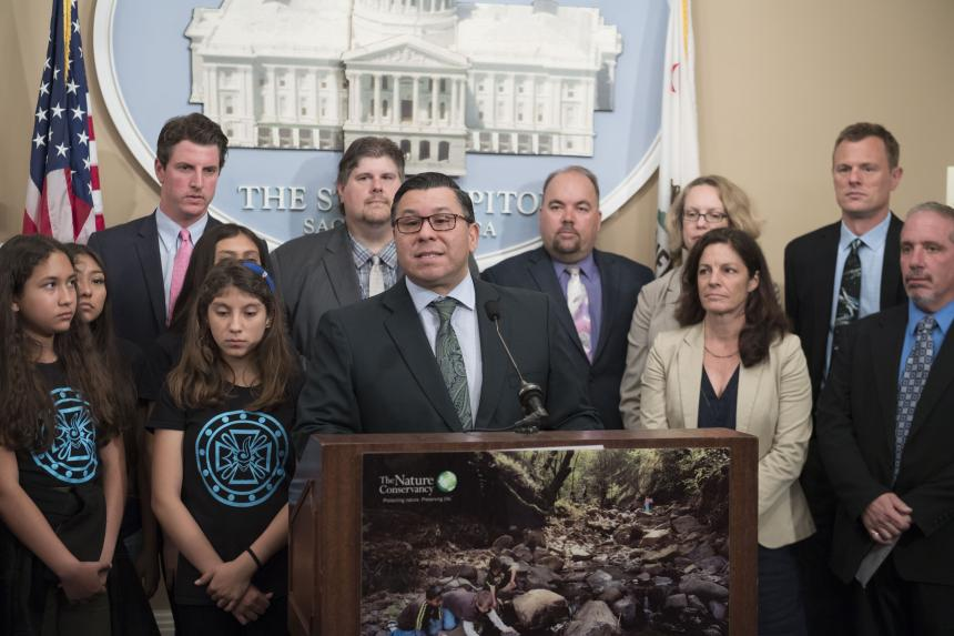 Assemblymember Eduardo Garcia speaking at Natural Resources Budget Request Press Conference