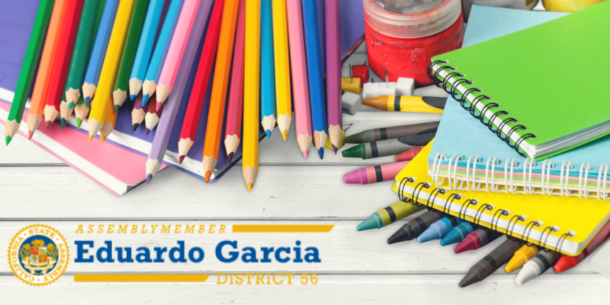 Assemblymember Eduardo Garcia logo on photo of school supplies