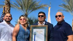 Edward Robles is joined by his family as he's recognized as 2019's Veteran of the Year.