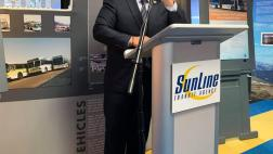 Assemblymember Garcia speaks to the crowd at SunLine Transit Agency